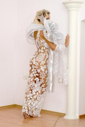 Вязаные свадебные и вечерние платья